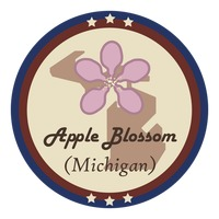 Michigan state with apple blossom flower