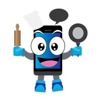 Mobile phone character holding pan and rolling pin