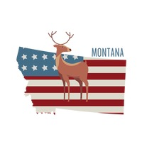 Popular : Montana state map with deer