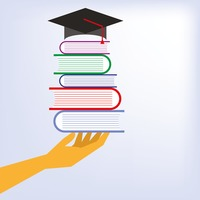 Popular : Mortarboard on stack of books