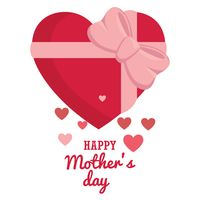 Mothers day card with heart gift box