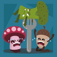 Mushroom and acorn crying while broccoli being eaten