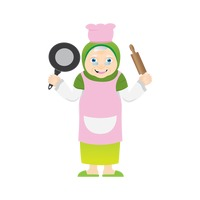 Muslim woman as a chef