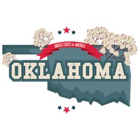 Oklahoma map with cotton field
