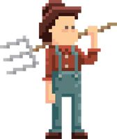 Pixel farmer with pitchfork