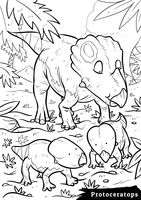 Protoceratops with hatchlings