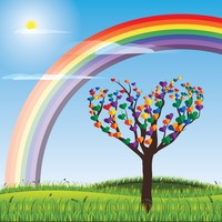 Rainbow and a colorful tree