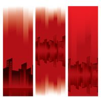 Red banners of buildings