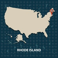 Rhode island state on the map of usa