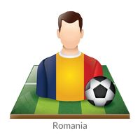 Romania player with soccer ball on field