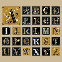 Set of alphabet icons