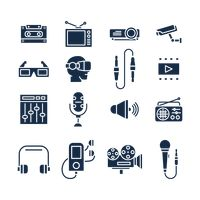 Set of audio and video icons