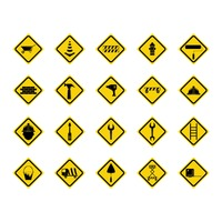 Set of construction sign boards