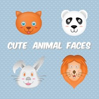 Set of cute animal faces