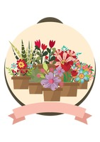 Set of flower pots with banner