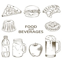 Set of food and beverages
