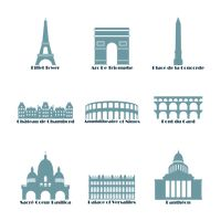 Set of france landmark icons