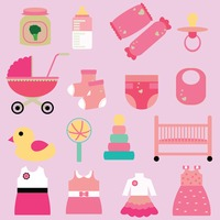 Set of girl baby icons