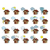 Set of houses with different weathers