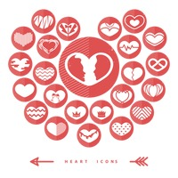 Set of love heart icons