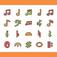 Popular : Set of musical notes