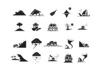 Set of natural disaster icons