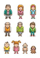 Set of pixel art family icons