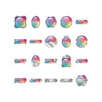 Popular : Set of rainbow buttons