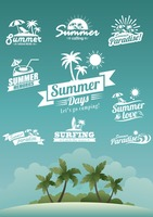 Set of summer labels