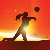 Silhouette of a woman playing volleyball