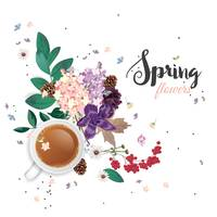Spring flowers and cup of hot drink