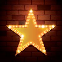 Star shape on bricks wall background