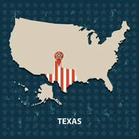 Texas state on the map of usa