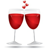 Popular : Two glasses with heart shapes