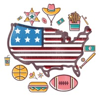 Usa map with icons