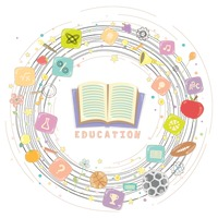 Popular : Various education items in a circle