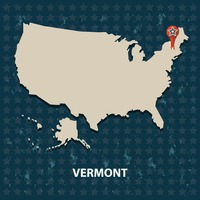 Vermont state on the map of usa