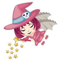 Witch with dragon wings sprinkling magical stars
