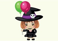 Witch with helium balloons