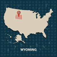 Wyoming state on the map of usa