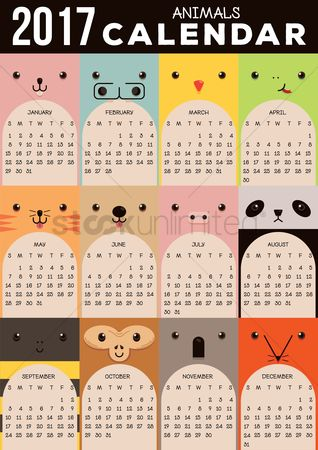 Oct : 2017 animals calendar