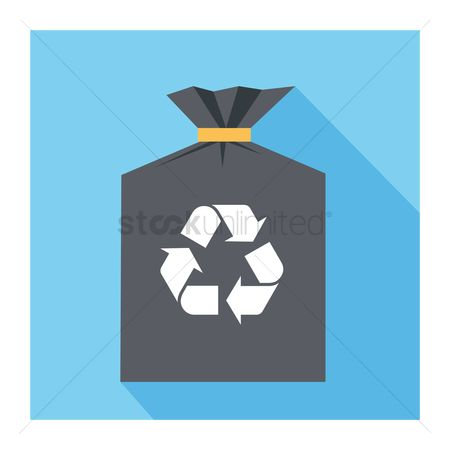 Chores : A black bag with a recycling symbol