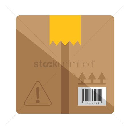 Caution : A cardboard box