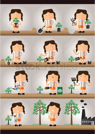 Pollutions : A collection of a girl planting a tree