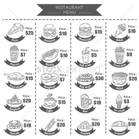 French : A collection of menu titles and prices