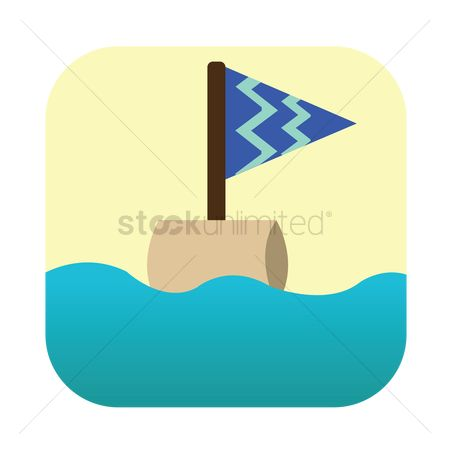 Zig zag : A flag floating on the water
