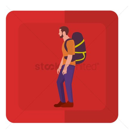 Hiking : A hiker carrying a hiking backpack