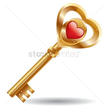 Romance : A key with a heart shape
