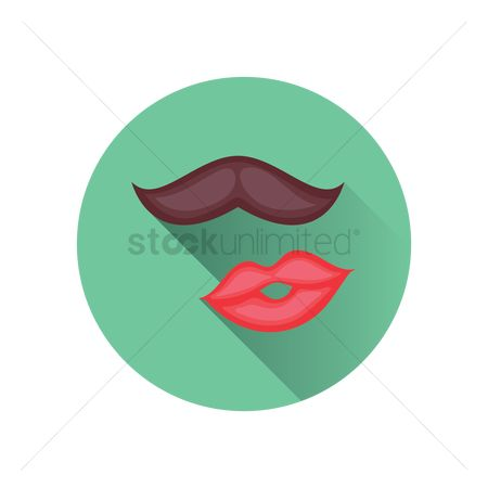 Moustache : A mustache and a pair of lips