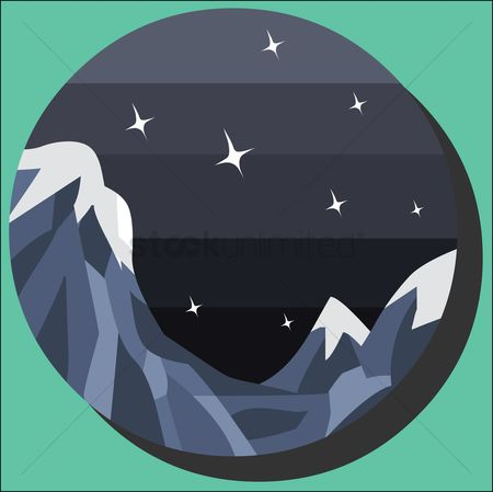 Hills : A night sky with star and mountains